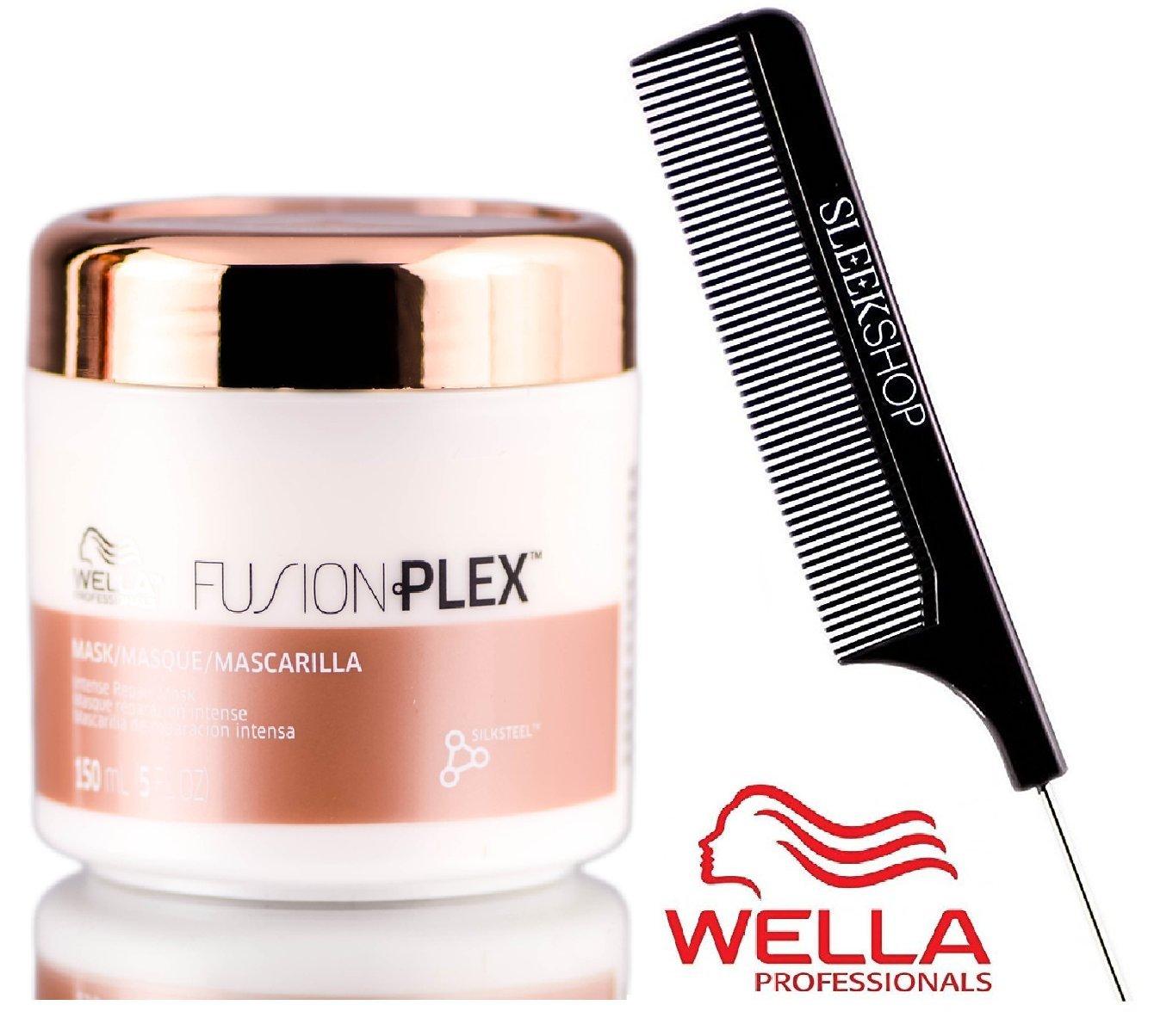Wella FUSION PLEX Intense Repair Mask with Sleek Steel Pin Tail Comb 16.9 oz 500 ml – LARGE