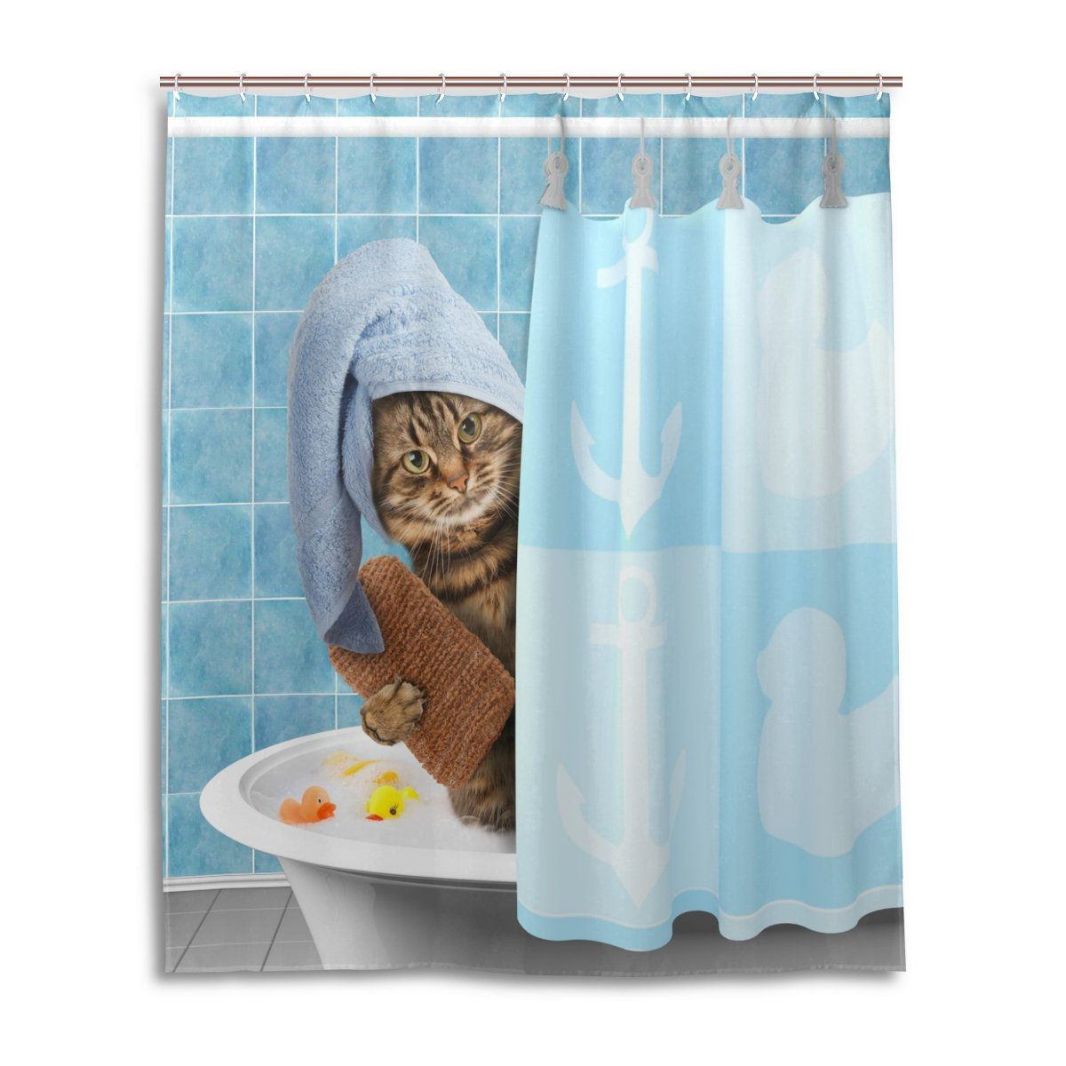 ALAZA Funny Kitten Cat Taking Bath Home Decor Shower Curtain Polyester Waterproof Mildew Proof Bath Room Shower Curtain with Hooks 60 W x 72 H inches