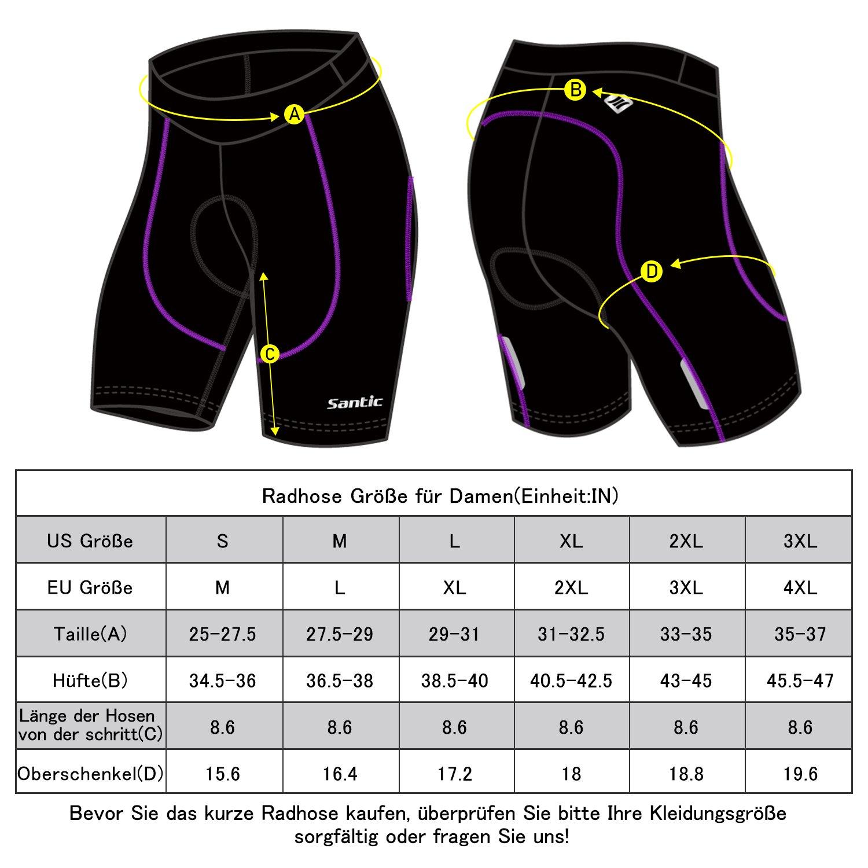 SANTIC Pantalon Ciclismo Mujer Corto,Pantalones Cortos de Bicicleta para Mujeres con Gel