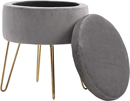 Amazon Com Sophia William Round Storage Ottoman Footrest Stool With Removable Lid Side Table Seat Padded Velvet With Gold Metal Legs Upholstered Decorative Furniture Rest For Living Room Bedroom Grey Kitchen Dining