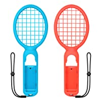 Tennis Racket for Nintendo Switch, FYOUNG Somatosensory Joy Con Gaming Controller Grip Tennis Rackets for Mario Tennis Aces, Nintendo Switch Gameplay 2 Pack (Blue,Red)
