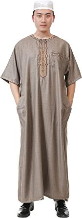 GladThink Mens Arab Muslim Islamic Church Worship Long Thobe with Short Sleeves