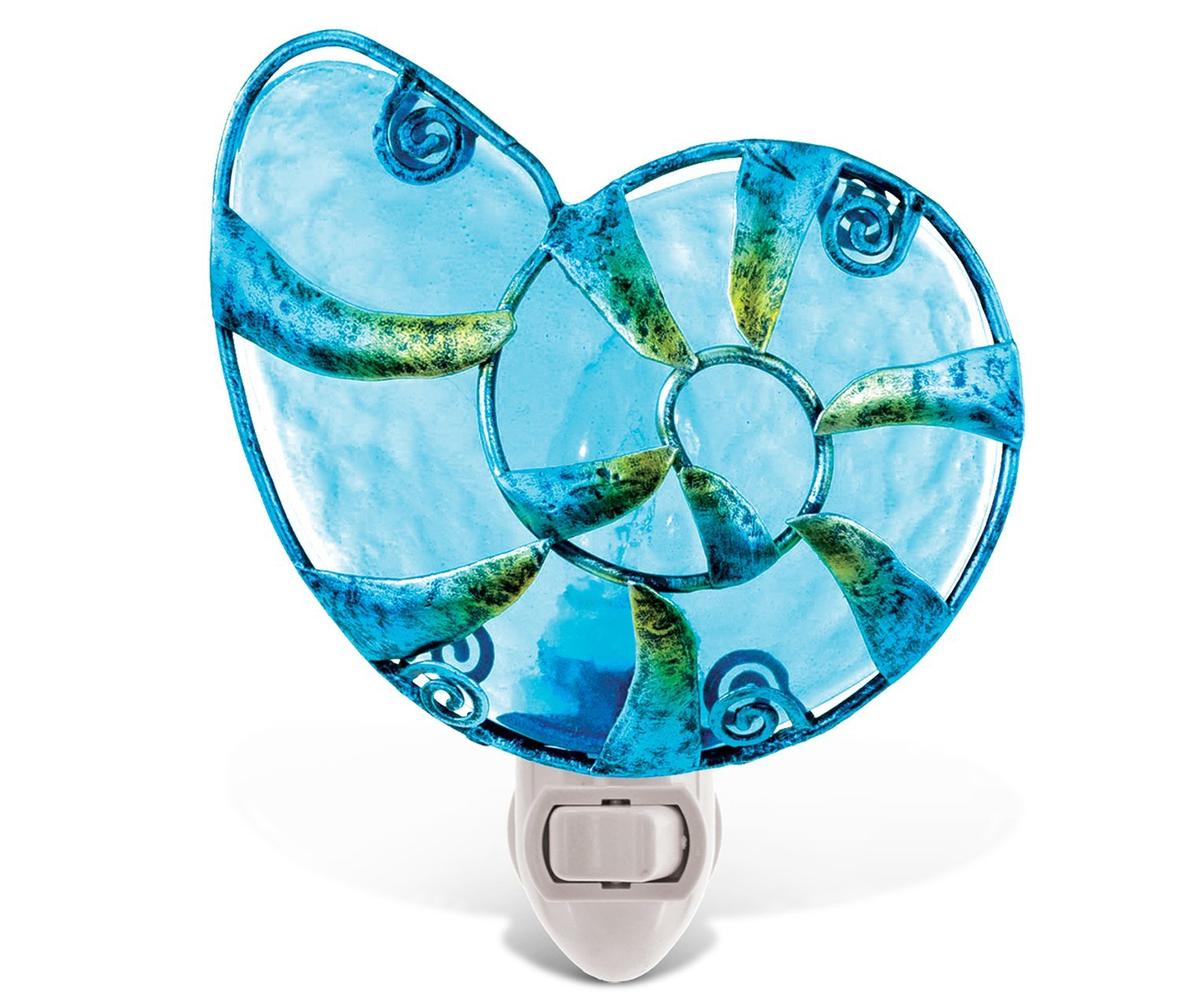 Puzzled Shell Night Light Decor - Metal And Glass Lights Seashells Plug In Receptacle With On Off Manual Switch - Ocean Themed Nursery Lamps Incandescent Removable Outlet Home Fixture - Item 9612