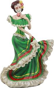 Ebros Dia De Los Muertos Day Of The Dead Traditional Green Gown Dancer Statue Sugar Skull Vivas Calacas Figurine