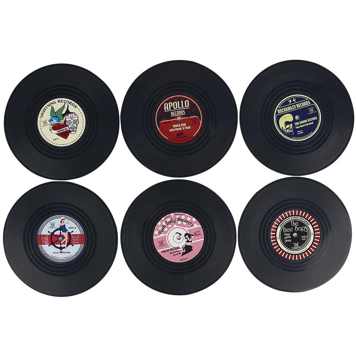 レトロビニールレコードコースターノベルティカップマットfor Drinksクラシック音楽スタイル4 – 6美しいボックスセット ブラック CORDSER65-03  6 PCS Retro Record B07FTHLTWB
