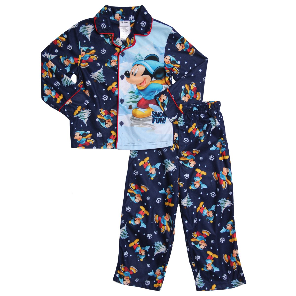 Disney Mickey Mouse Toddler Navy 2Pc Flannel Pajama Set
