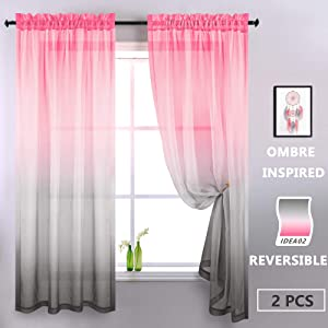 KOUFALL Pink and Grey Curtains for Bedroom Decor Set of 2 Panels Rod Pocket Ombre Window Sheer Curtains for Girls Room Decorations Baby Nursery Living Room 52 x 84 Inches Long Pink Gray