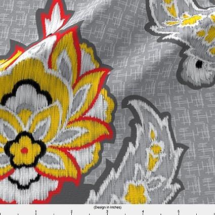 Amazon Spoonflower Gray Grey Fabric Ethnic Tribal Ikat Floral