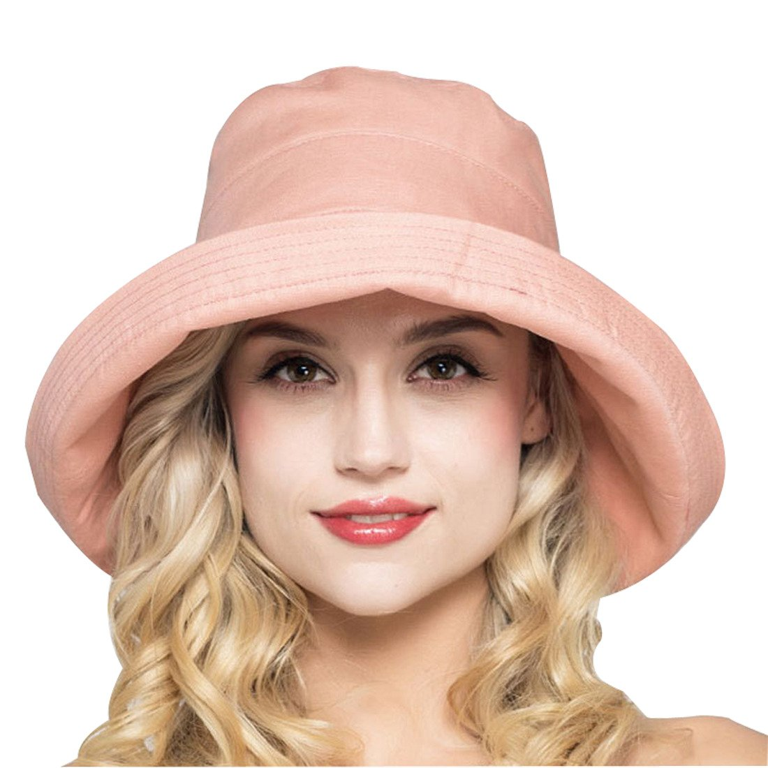 Kafeimali Women's Cotton Bucket Hat Sun Summer Color Beach Caps Big Fold-up Brim XMZ1