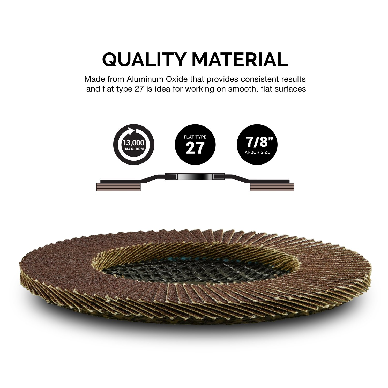 10 Pack 4-1/2'' Auto Body Sanding Flap Discs 80 Grit by Neiko (Image #2)