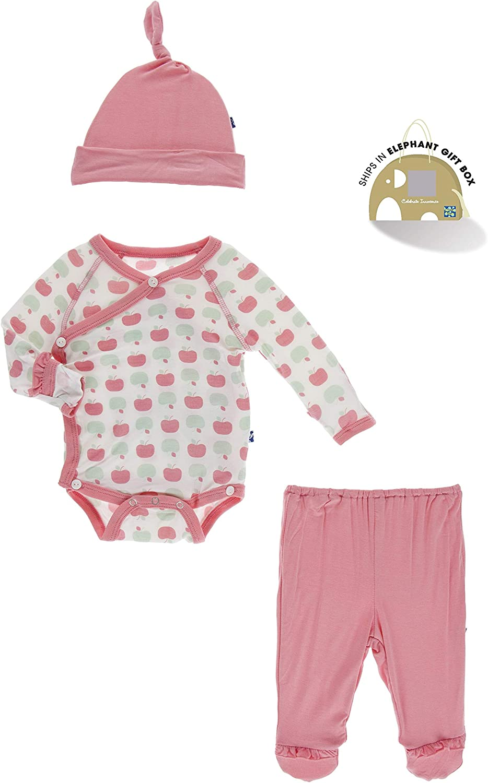 KicKee Pants Print Ruffle Newborn Gift Set with Single Knot Hat in Elephant Gift Box