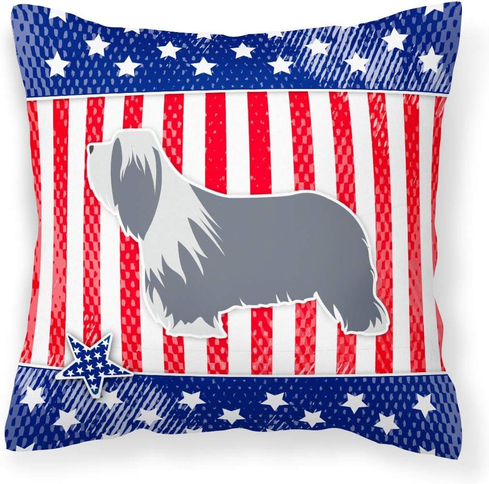 Caroline S Treasures Bb3317pw1414 Usa Patriotic Bearded Collie Fabric Decorative Pillow 14hx14w Multicolor Garden Outdoor