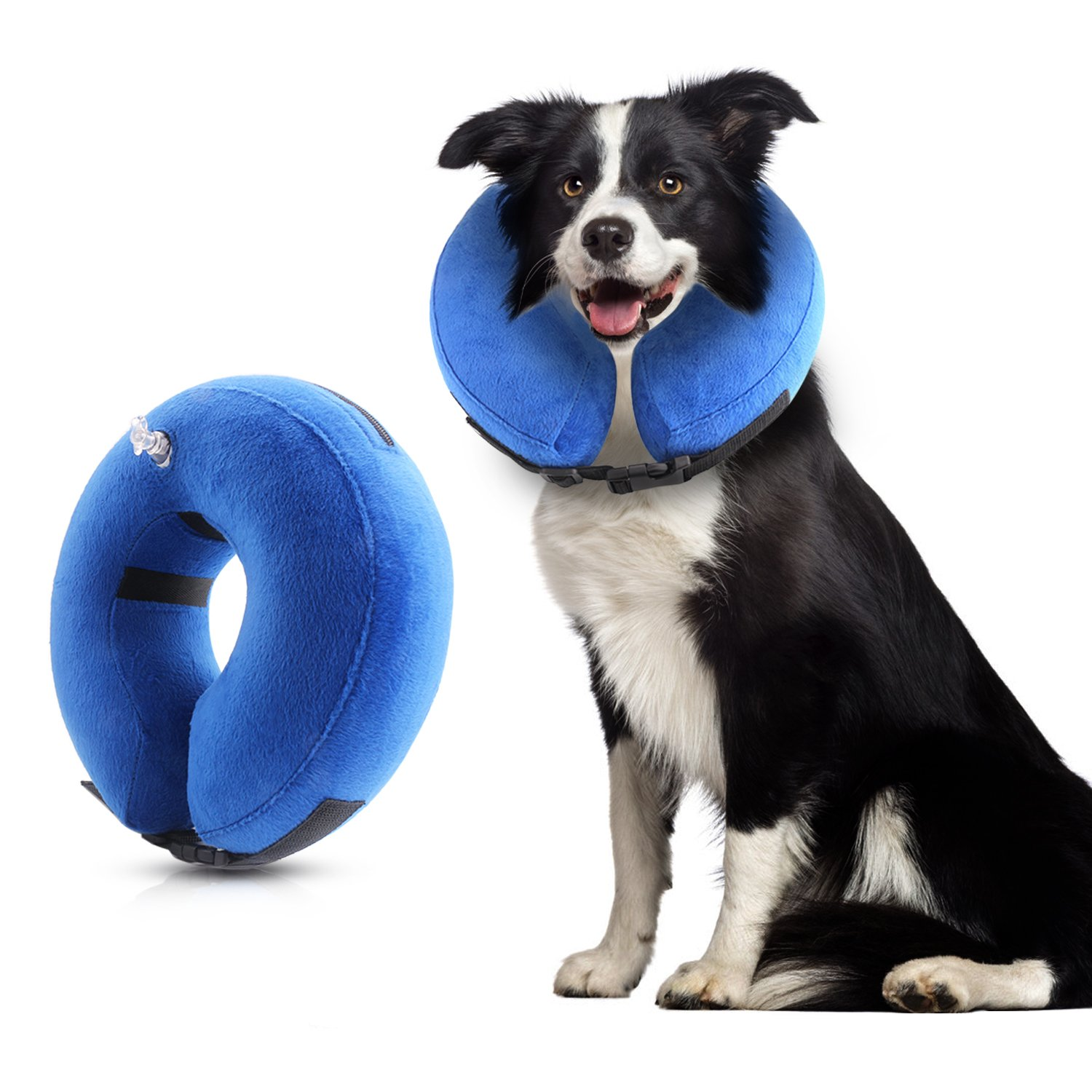 WIRSV Dog cone, Protective Inflatable Dogs Collar Soft and Convenient Pet Recovery E-Collar for Small Medium Large Dogs and Cats Designed to Prevent Pets From Touching Wound Does Not Block Vision (L)
