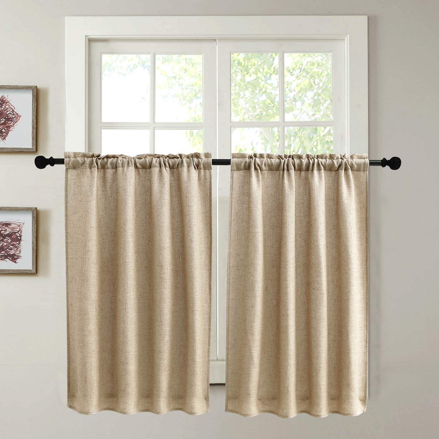 Kitchen Curtains for Dining Room Burlap Linen Tier Curtain Window Treatment Drapes for Living Room Set of 2 Each 29 x 36 inches Rod Pocket Coffee