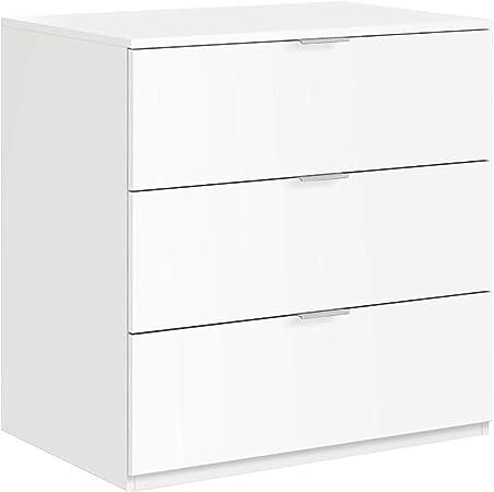 Oferta amazon: Habitdesign LC7823O - Cómoda 3 cajones Color Blanco Mate, Medidas: 77 cm (Ancho) x 80 cm (Alto) x 38 cm (Fondo)