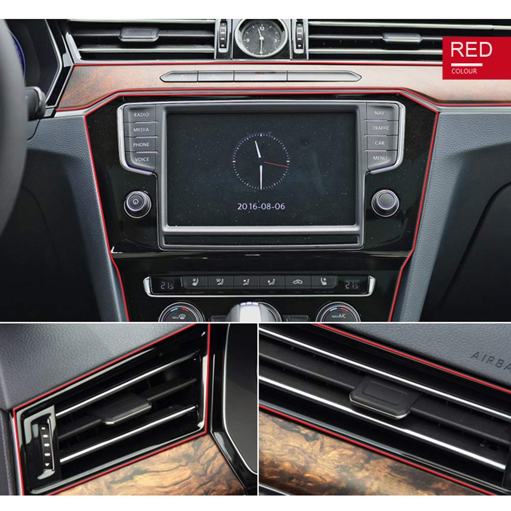 Car Interior Trim Strip Ashero 3D DIY Automobile Motor Exterior Decoration Moulding Trim Strip Line Red 5meters