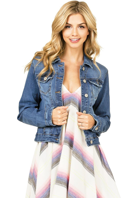 I & M Women's Juniors Cropped Fit Classic Denim Jacket (M, Me Denm)