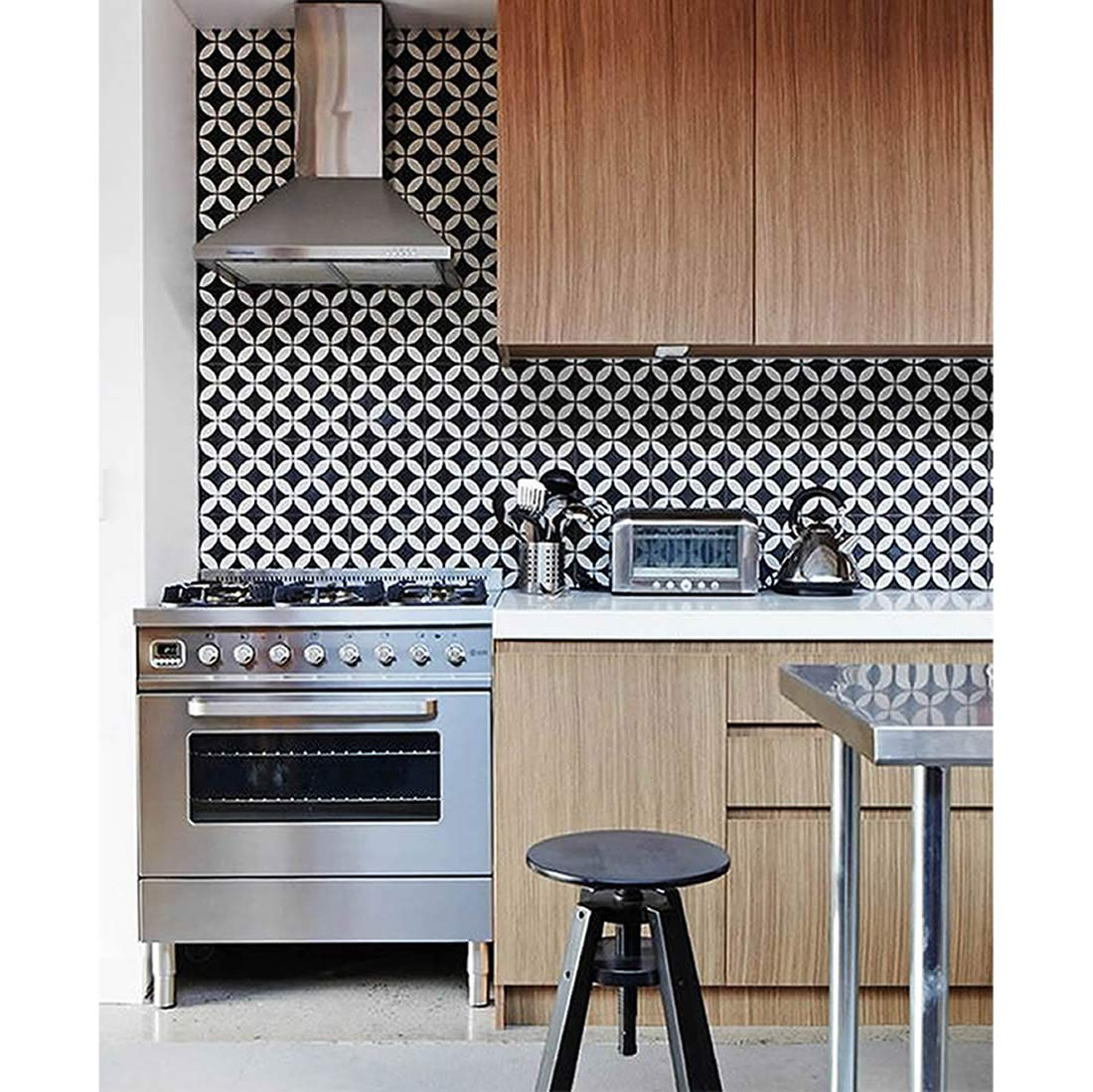 Moroccan Mosaic & Tile House CTP07-07 Amlo 8''x8'' Handmade Cement Tile in Whilte and Black (Pack of 12), White