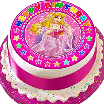 Excellent Sleeping Beauty Pink Happy Birthday 7 5 Inch Precut Edible Icing Personalised Birthday Cards Paralily Jamesorg