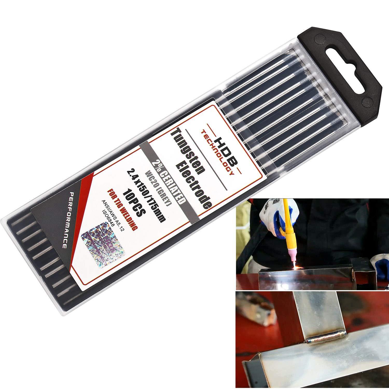 etc. le titane lalliage de nickel 10x Aiguilles /à /électrode en tungst/ène WC-20 /Ø2,4 x 175 mm /Électrodes en tungst/ène Soudage TIG gris WC20 Convient pour lacier inoxydable