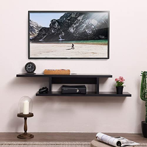 FITUEYES Wall Mounted Media Console,Floating TV Stand Component Shelf Black Grain DS211801WB