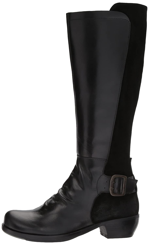 FLY London Women's Miss141fly Equestrian Boot B06X9N4SRT 39 M EU (8-8.5 US)|Black Rug/Oil Suede