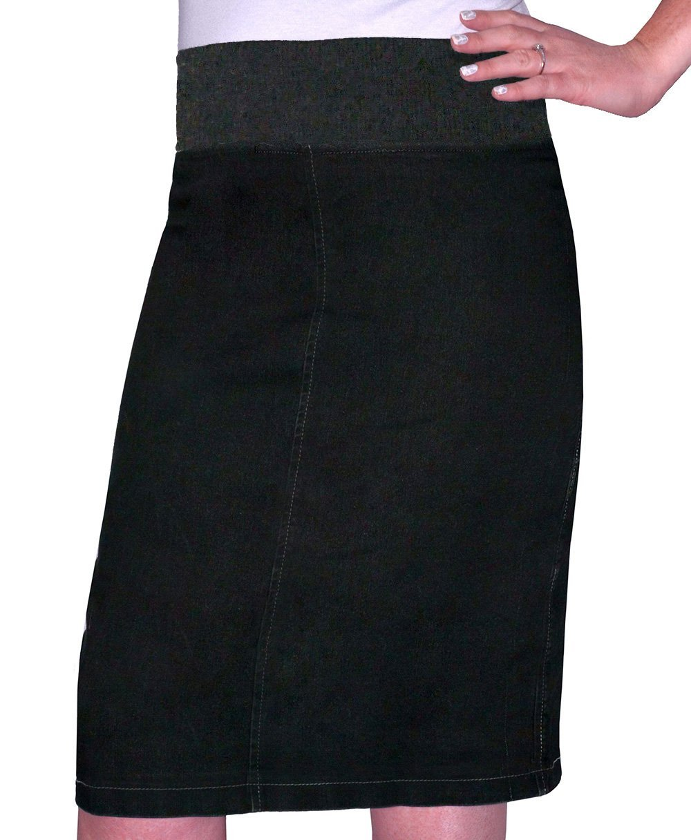 Kosher Casual Kid's Big Girls' Modest Straight Midi Length Denim Skirt Stretch Waistband No Slits Size 6 Stonewash Black with Black Stitching