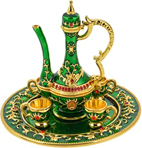 FZJ Persian Teapot Small Collectible Figurine Gold Plated Room Decoration Unique Gift for Women & Men (Green, 3