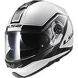 LS2 Helmets Strobe Civik Modular Motorcycle Helmet with Sunshield (White, Large)