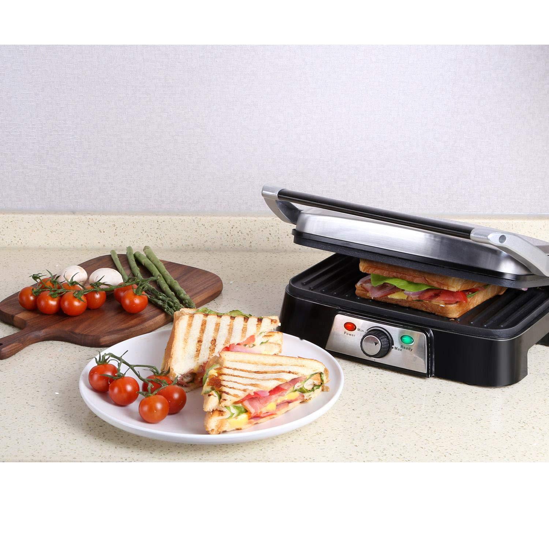 Aigostar Hitte 30HFA - Grill, parrilla, 1500 W de potencia, sandwichera y máquina de panini, 2 placas de cocinado independientes antiadherentes, ...