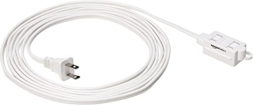 Amazon Basics Indoor 2 Prong Extension Power Cord Strip - 2-Pack, Standard Plug, 12 Foot, White
