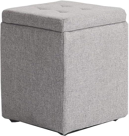 DJ Reposapiés Plegable Caja Cubo de Almacenamiento con Tapa extraíble Taburete Plegable de poliéster, 30 X 30 X 45 cm (Gris): Amazon.es: Hogar