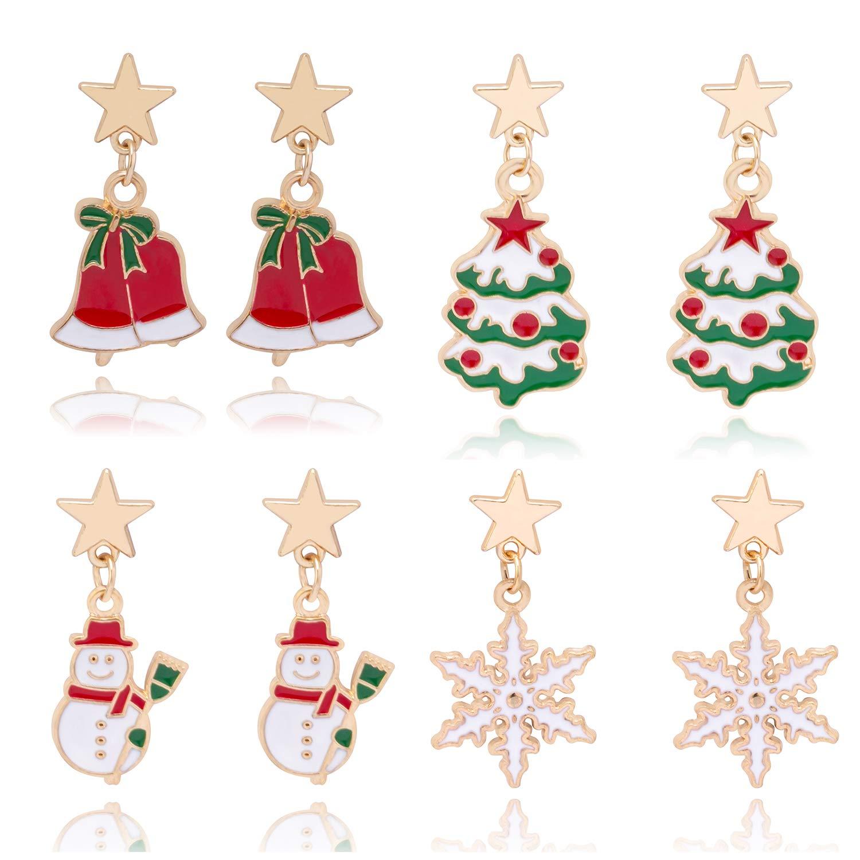 4 Pairs Christmas Dangle Earrings for Women Girls Christmas Tree Jingle Bell Snowflake Snowman Drop earrings Ckysee Jewelry WK8186MI01