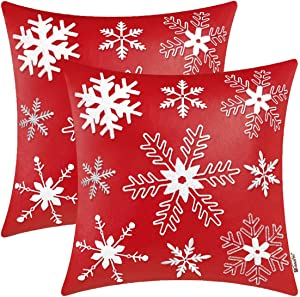 BRAWARM Pack of 2 Cozy Throw Pillow Covers Cases for Couch Sofa Home Decor Solid Dyed Faux Leather Embroidered Christmas Snowflakes 18 X 18 Inches Christmas Red