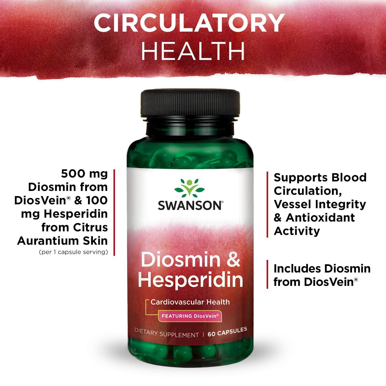 Amazon.com: Swanson Diosmin Hesperidin Cardiovascular Support Blood Health Vascular Wall Integrity and Tone Antioxidant Activity Supplement 500 mg Diosmin ...