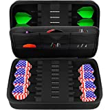 GWCASE Dart Case for 16 Steel Tip and Soft Tip Darts, Dart Carrying Storage Holder Fits for Dart Tips, Shafts and Flights (Bo