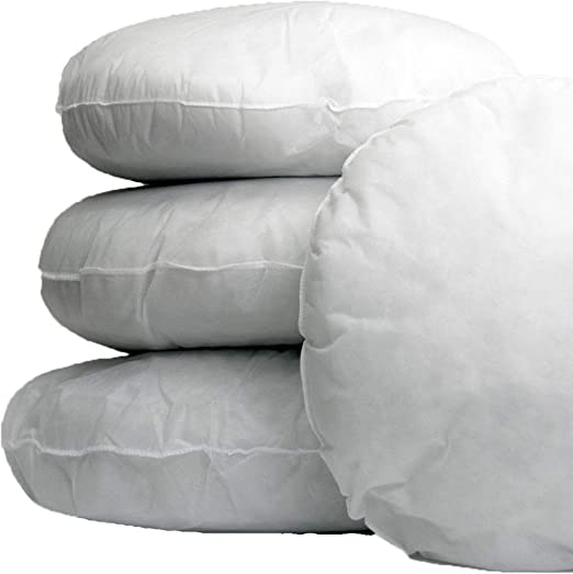 Adam Home - Cojín redondo relleno de plumas de pato, 100% algodón, 32 x 32