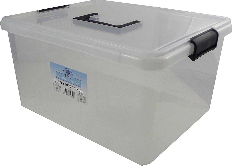 TML Caja organizadora de plástico, de la Marca, Cierre de Clip, Tapa y asa, Capacidad de 15 litros: Amazon.es: Hogar
