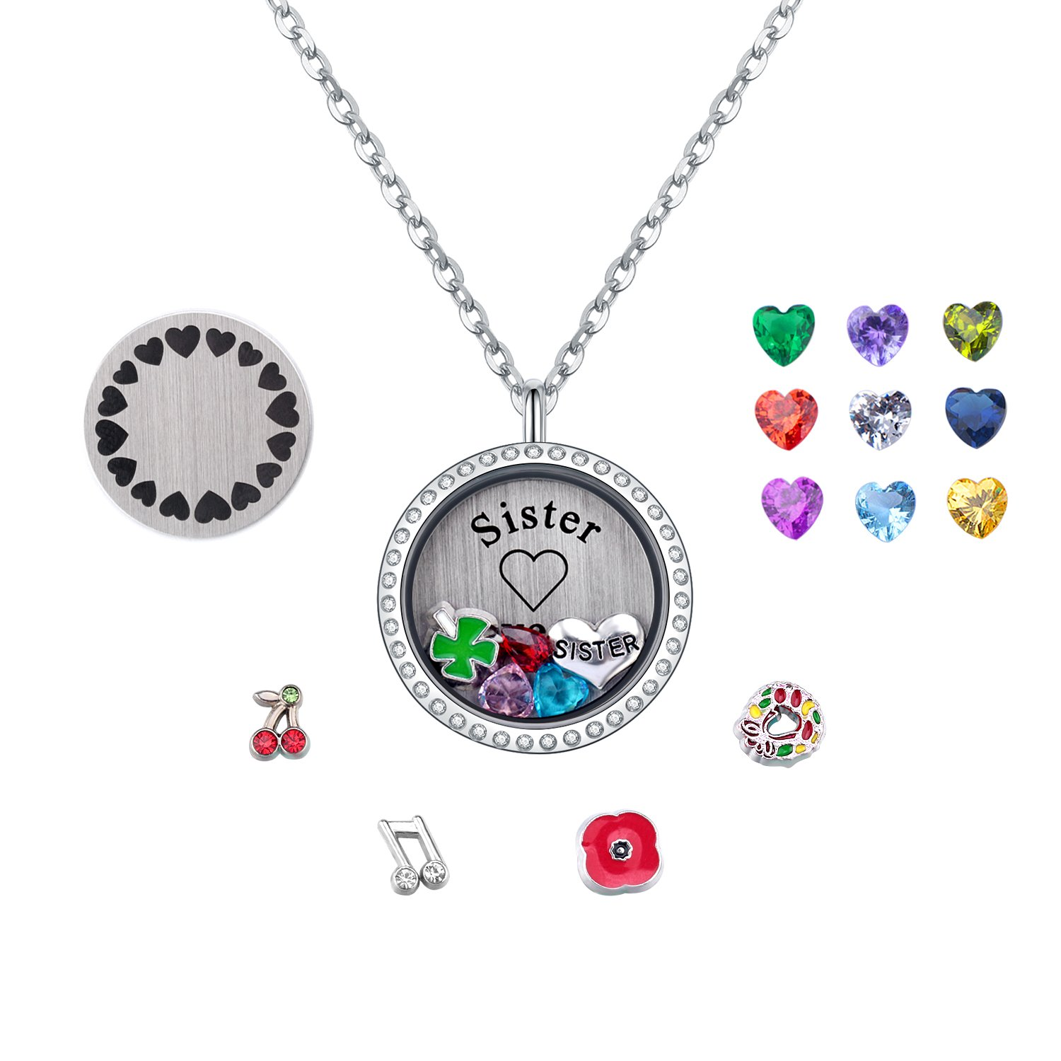 PORPI-JOJO Mothers Day for Mom Gifts Living Memory Floating Lockets Charms Birthstone Necklace Pendant