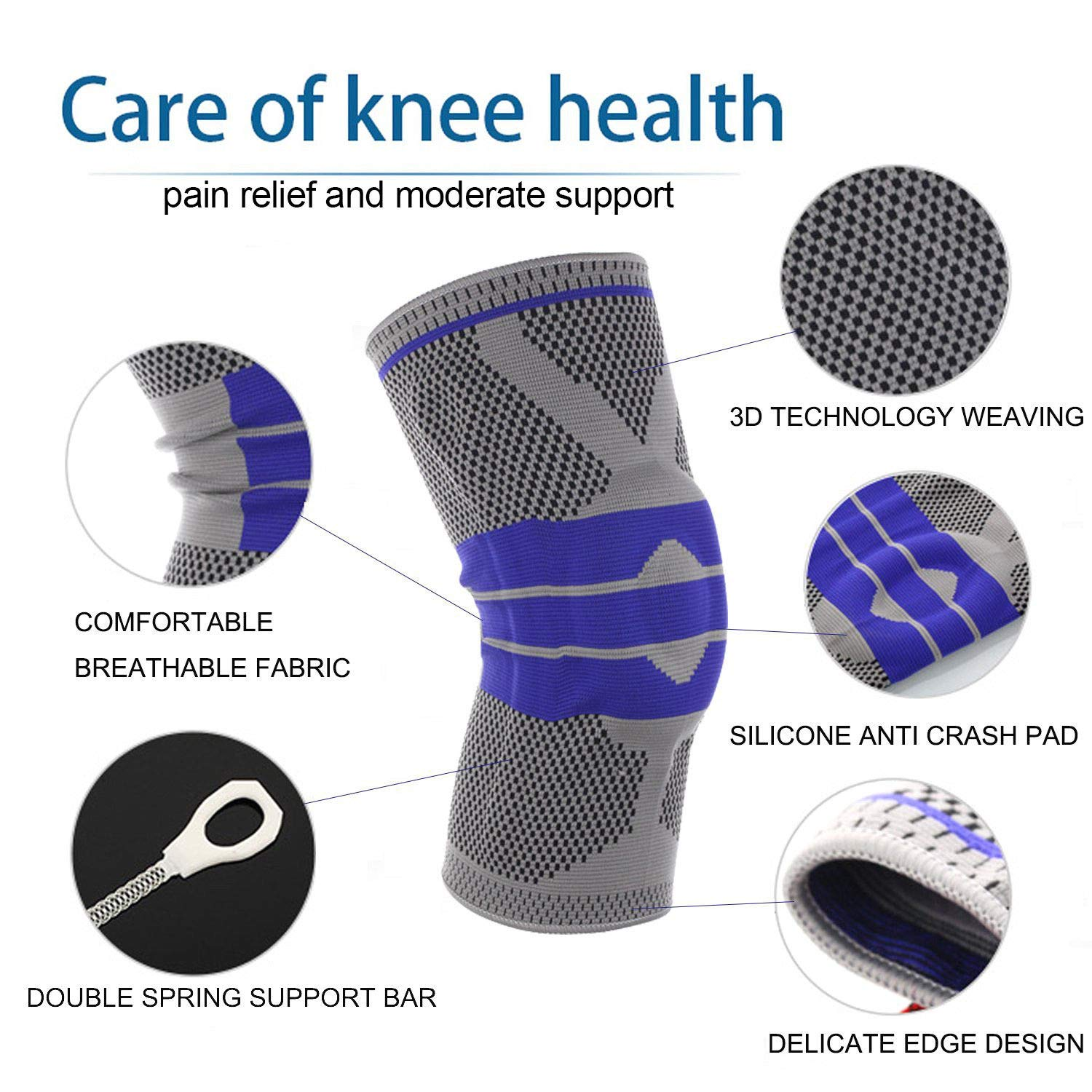 Gray VORCOOL Single Fitness Running Cycling Knee Support Braces Elastic Nylon Sports Compression Knee Pad Sleeve-Sized XL