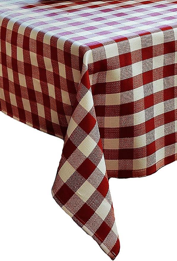 Juego de ropa de mesa con cuadros de algodón de 2 cm, color rojo y ...