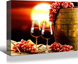 Looife Kitchen Still Life Canvas Wall Art, 18x12 Inch Red Wine Cup with Barrel Picture Prints Wall Decor, Food Art Deco for Dining Room and Bar Wall Decoration