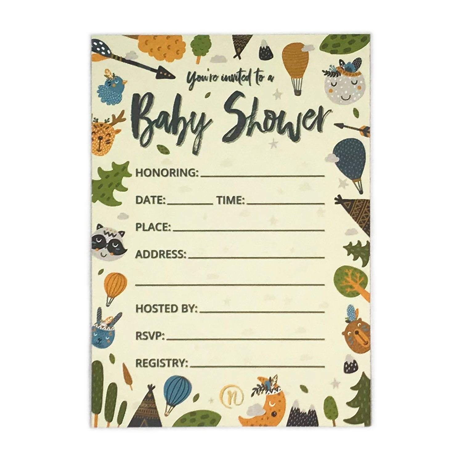 Baby Shower Invitation Cards with Diaper Raffle Tickets for Boy and Girl - Woodland Forest Animals - Set of 25 Party Invites - by Nalalife by Nalalife (Image #3)