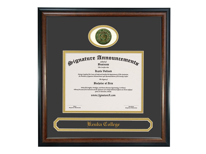 Signature Announcements Keuka-College Sculpted Foil Seal /& Name Graduation Diploma Frame 16 x 16 Matte Mahogany