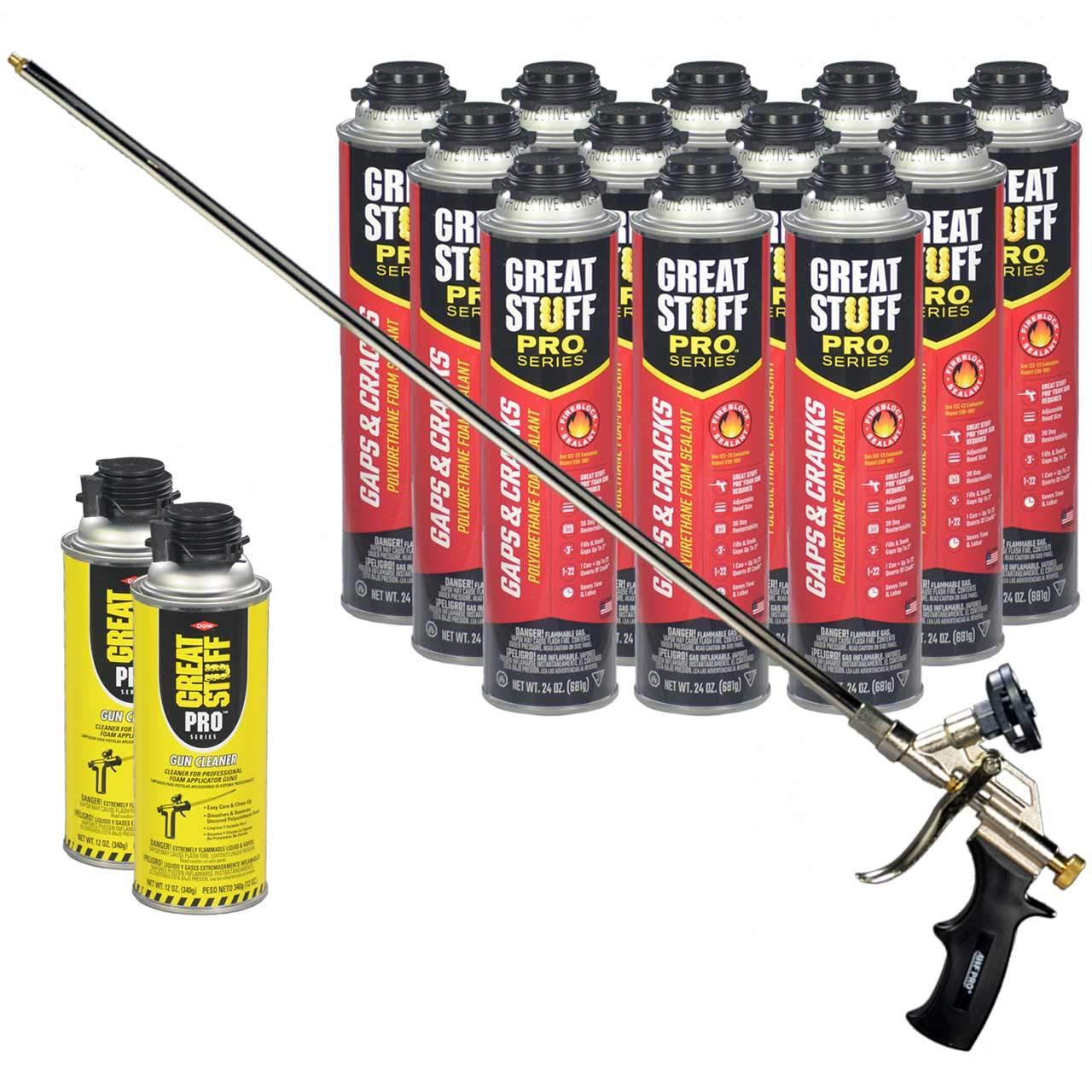 Dow Great Stuff Pro Gaps and Cracks 24 oz Foam (12) with AWF Pro 2 ft Foam Gun (1) Plus Dow Great Stuff Pro Foam Gun Cleaner (2) by Great Stuff