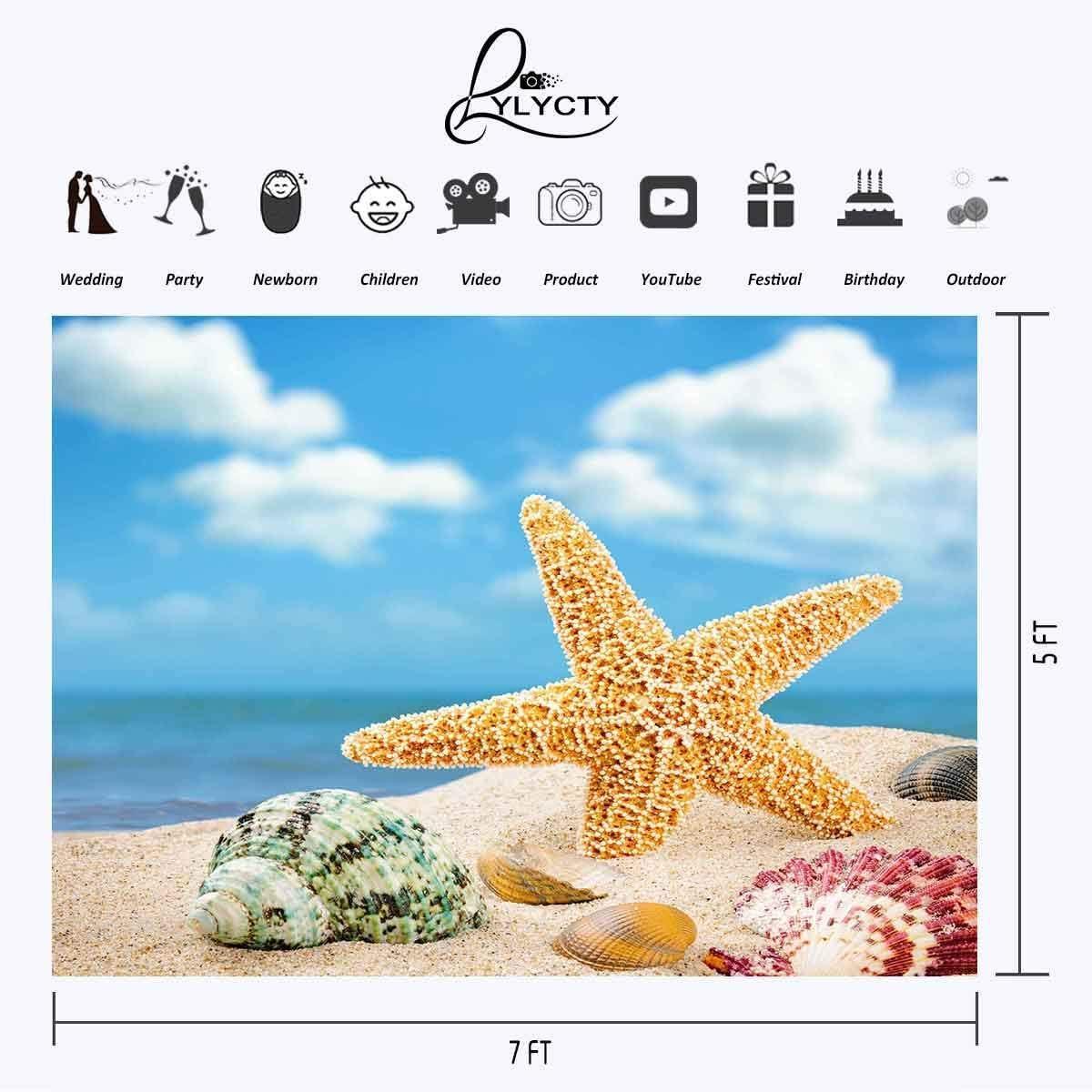 SZZWY 7x5ft Backdrop Beach Conch Starfish Ocean Series Photography Backdrop Photo Photography Background Props Studio Indoor Decorations LYLX557