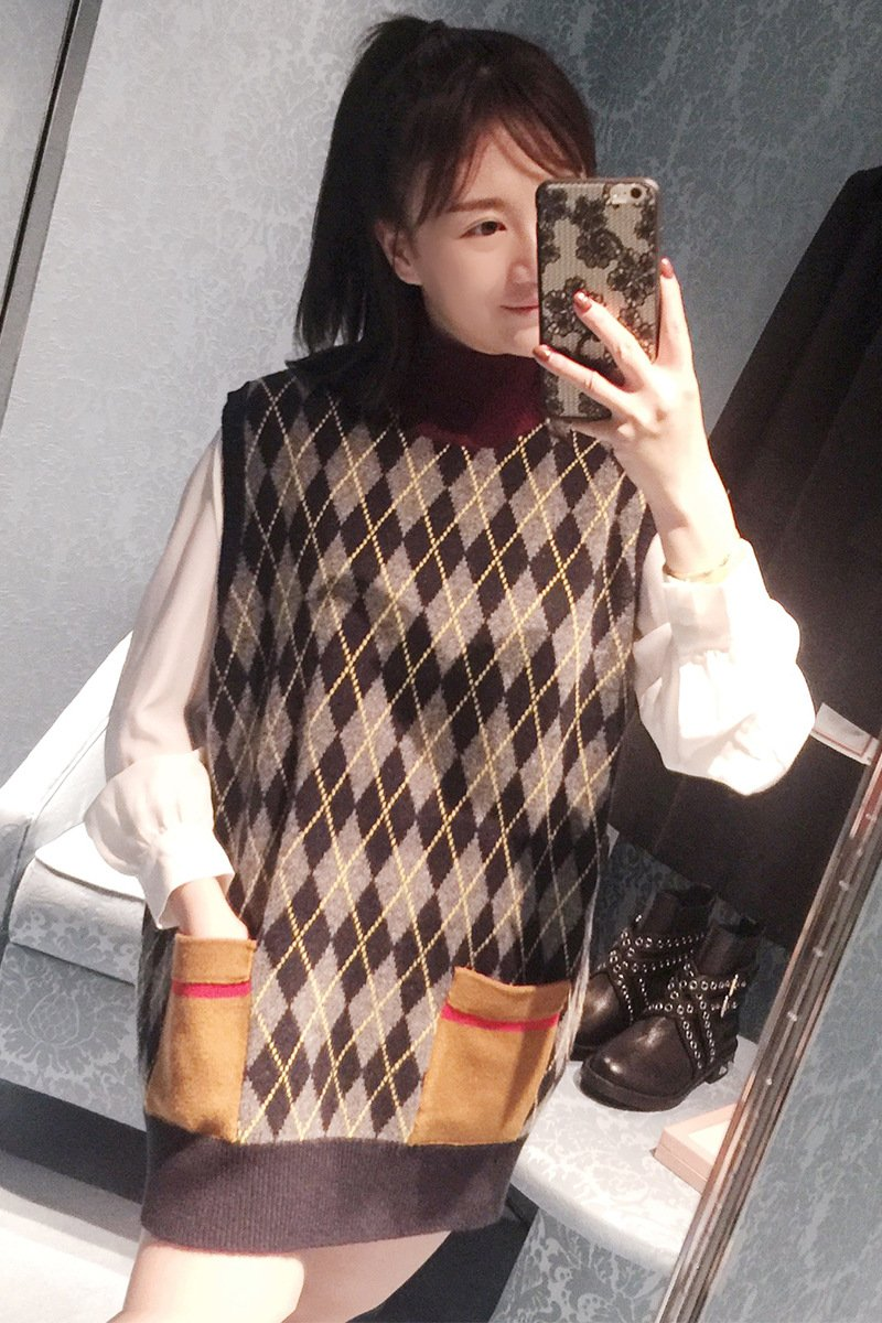 SZYL-Sweater Lose Damen Pullover hohe Kragen ärmellose ärmellose Weste Frauen