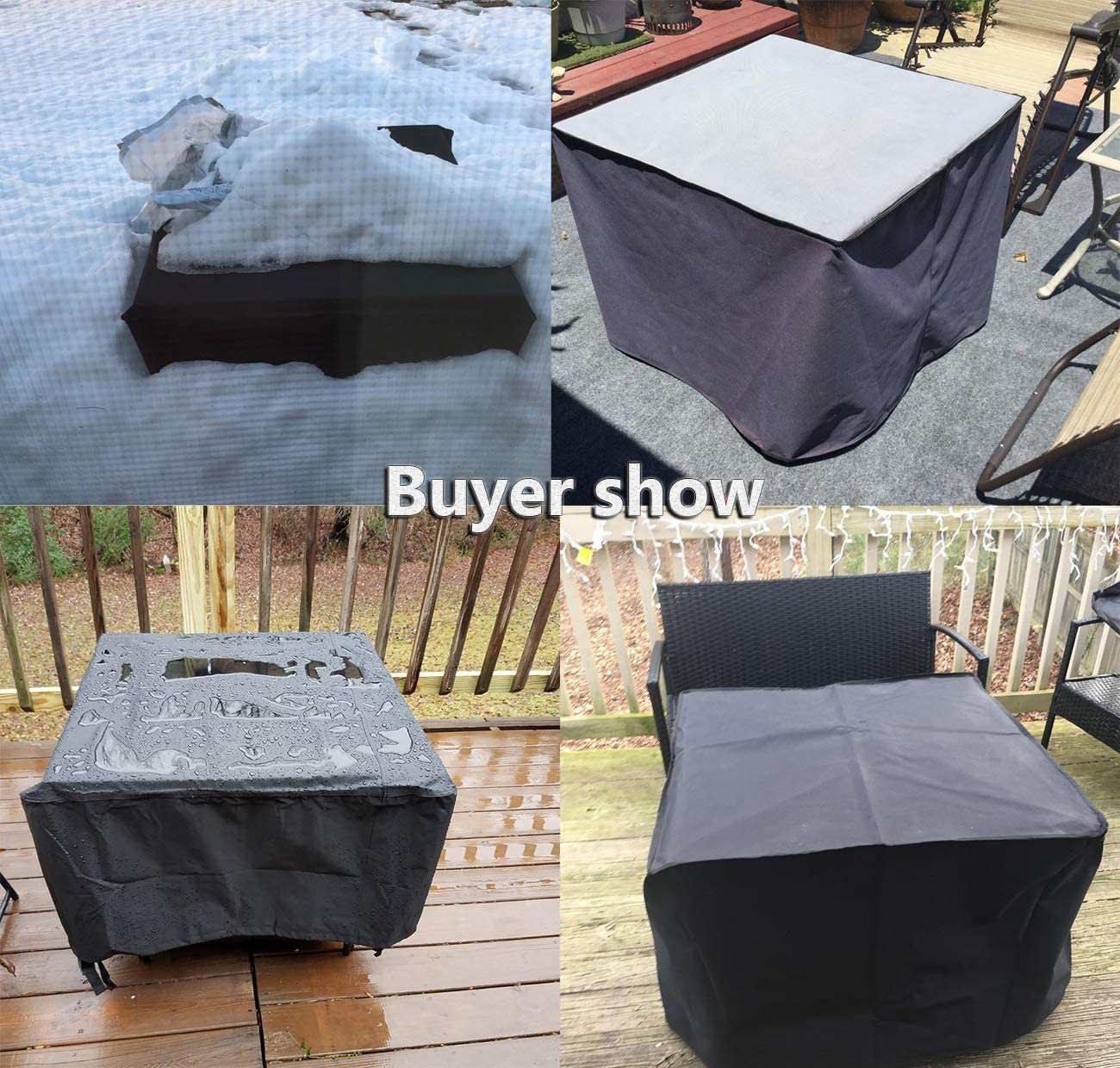 Waterproof Outdoor Furniture Cover WOMACO Heavy Duty Square Patio Fire Pit//Table Cover 48 x 48 x 29, Black