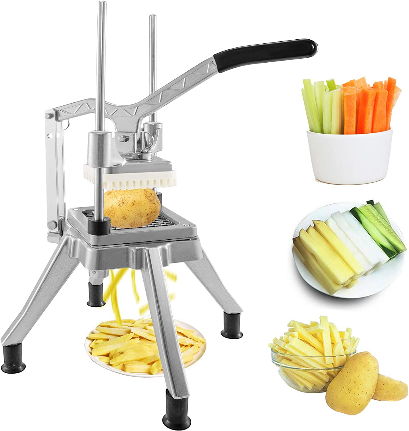 Happybuy Commercial Vegetable Fruit Chopper 3/8″ Blade Heavy Duty Professional Food Dicer Kattex French Fry Cutter Onion Slicer Stainless Steel for Tomato Peppers Potato Mushroom