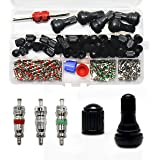 DEDC 148Pcs Tyre Repair Set Car Air Conditioning Kit with Tyre Dust Cap Valve Core Rubber TyreValve Stem Dual Head Valve Core Remover and Air Conditioning Valve Core Valve Cap with Box